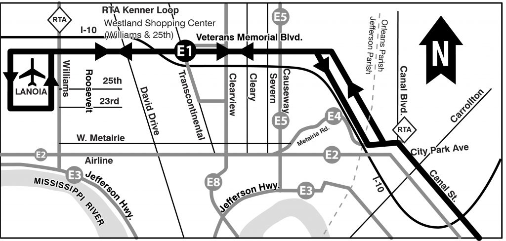 E1 Veterans-Airport map